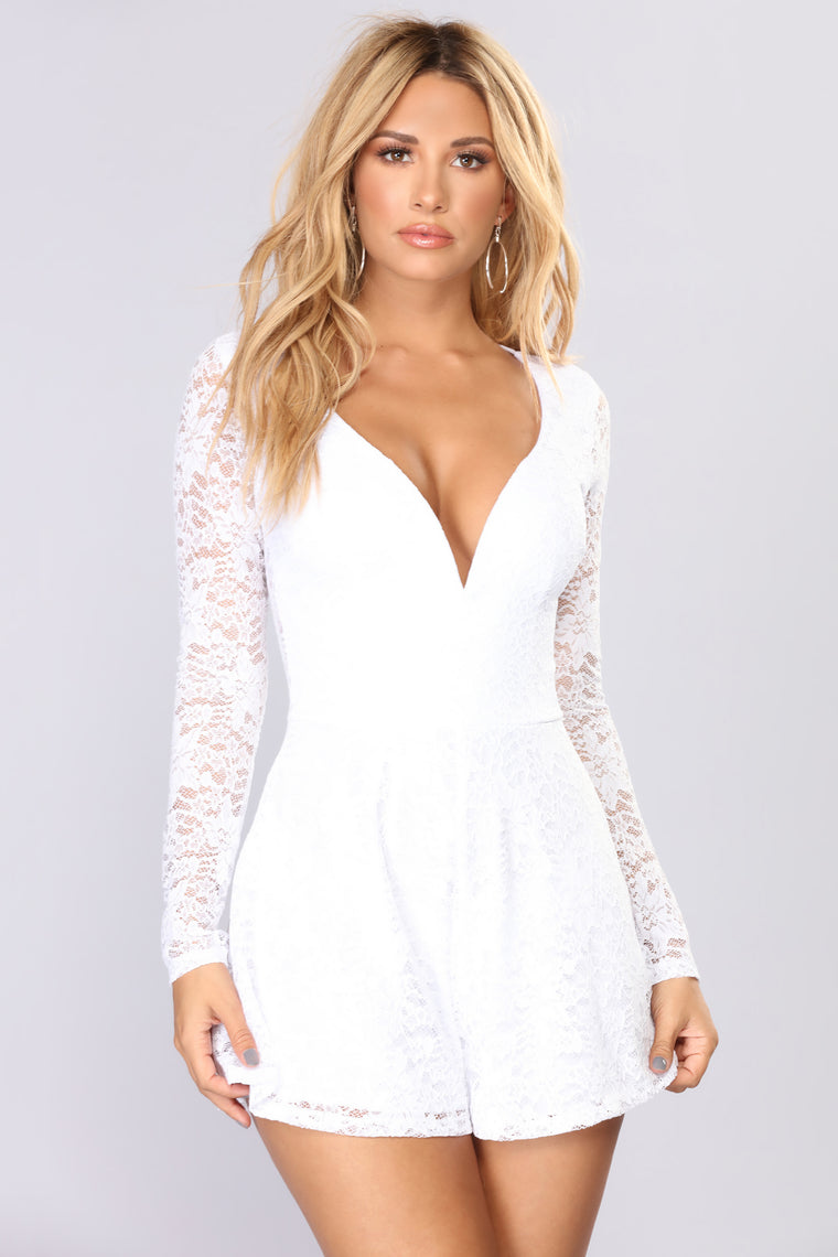 c4a310847f0 Moments Last Forever Lace Romper - Ivory