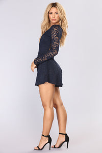 Moments Last Forever Lace Romper - Navy