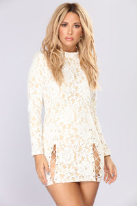 Love Note Lace Dress - Ivory/Nude