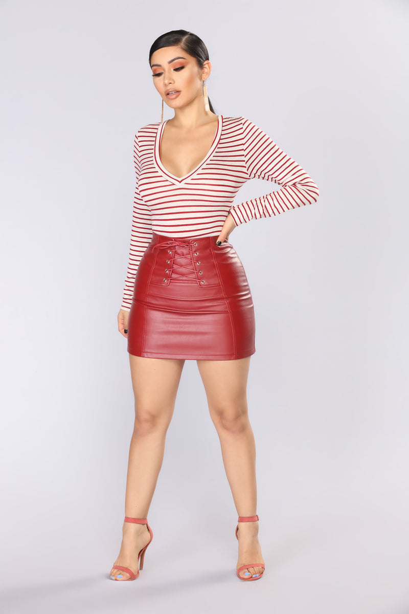 To Conclude Striped Bodysuit - Red Multi