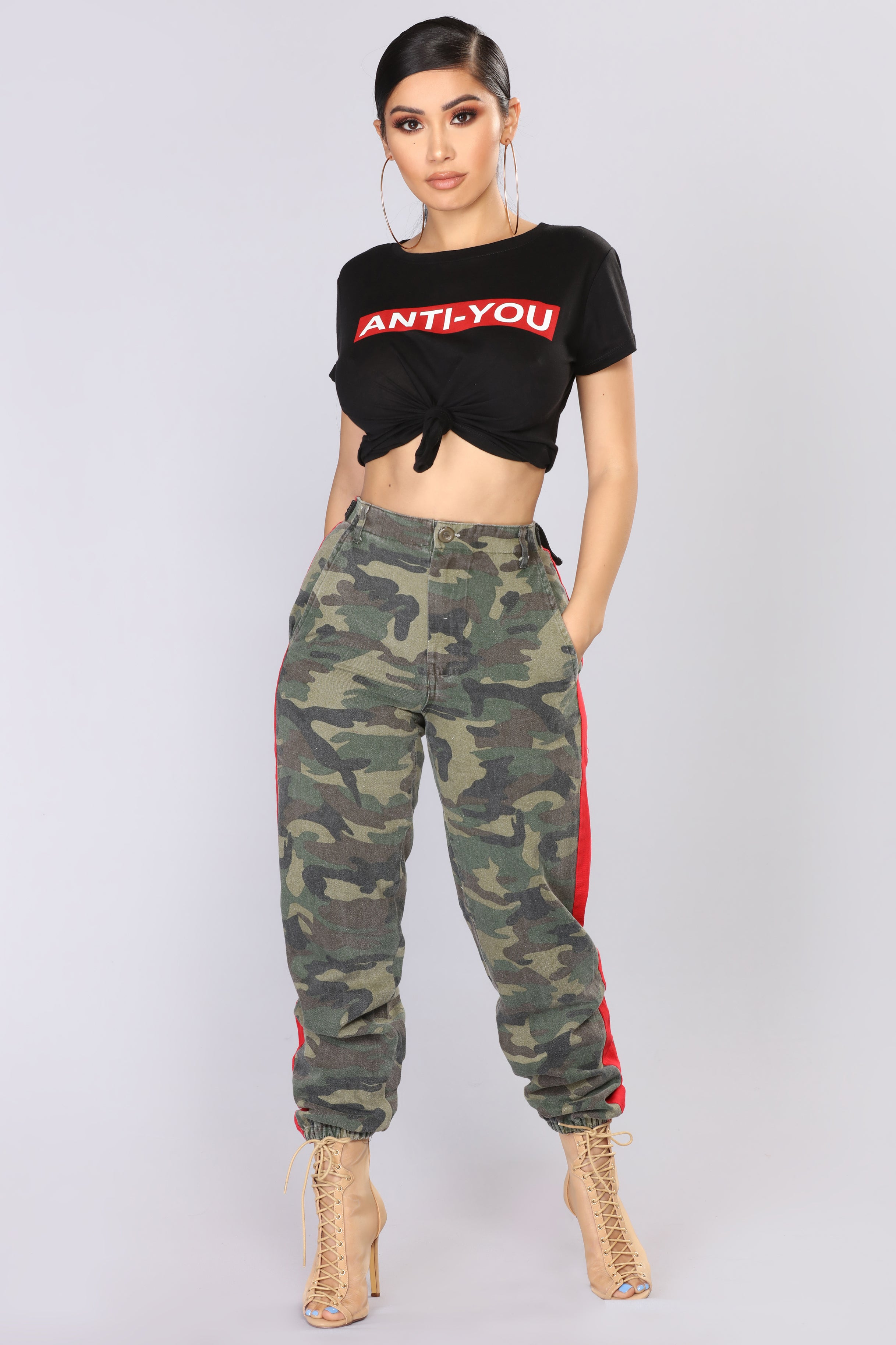 Count On Me Joggers , Camo/Red