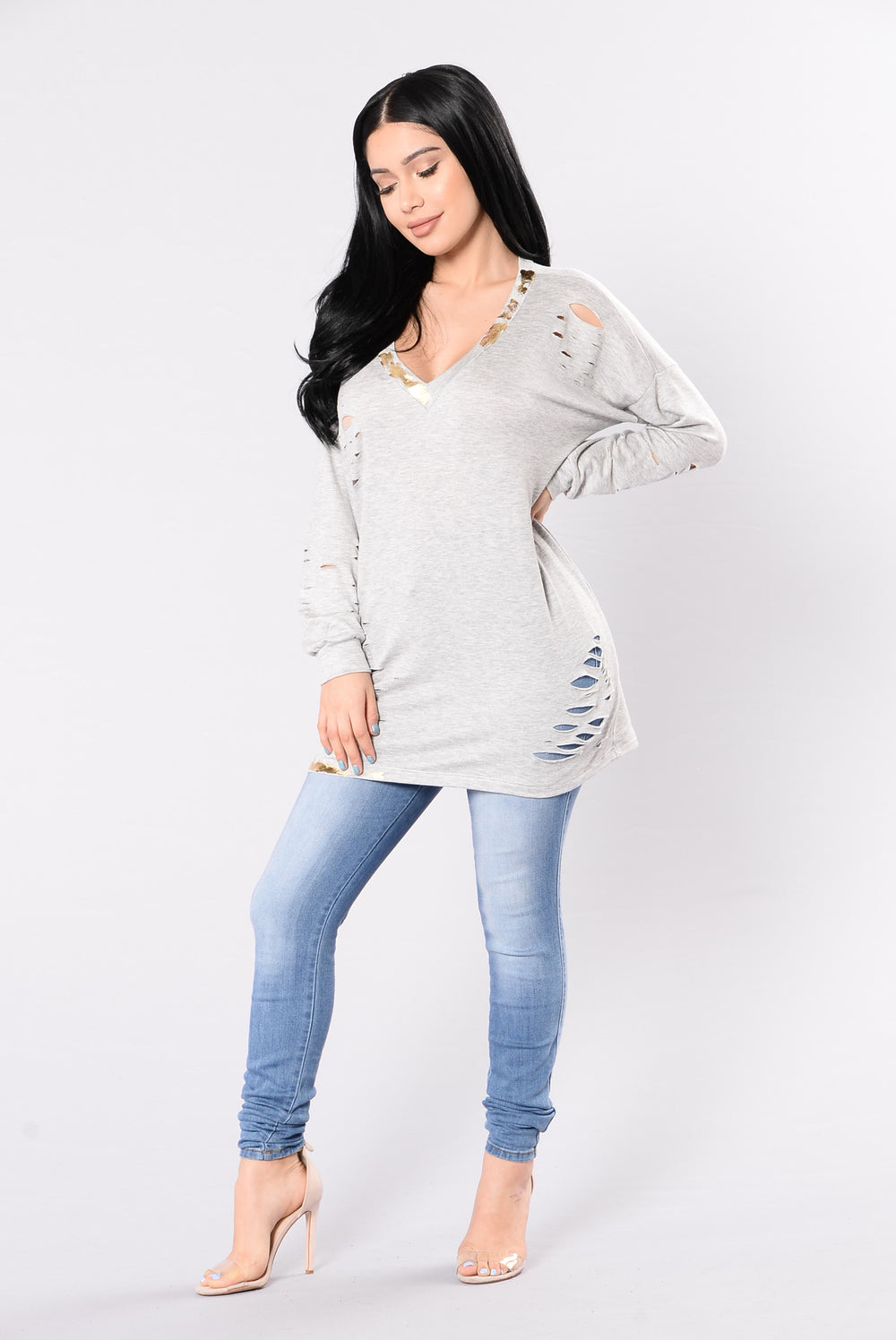 Glisten Up Sweater - Grey