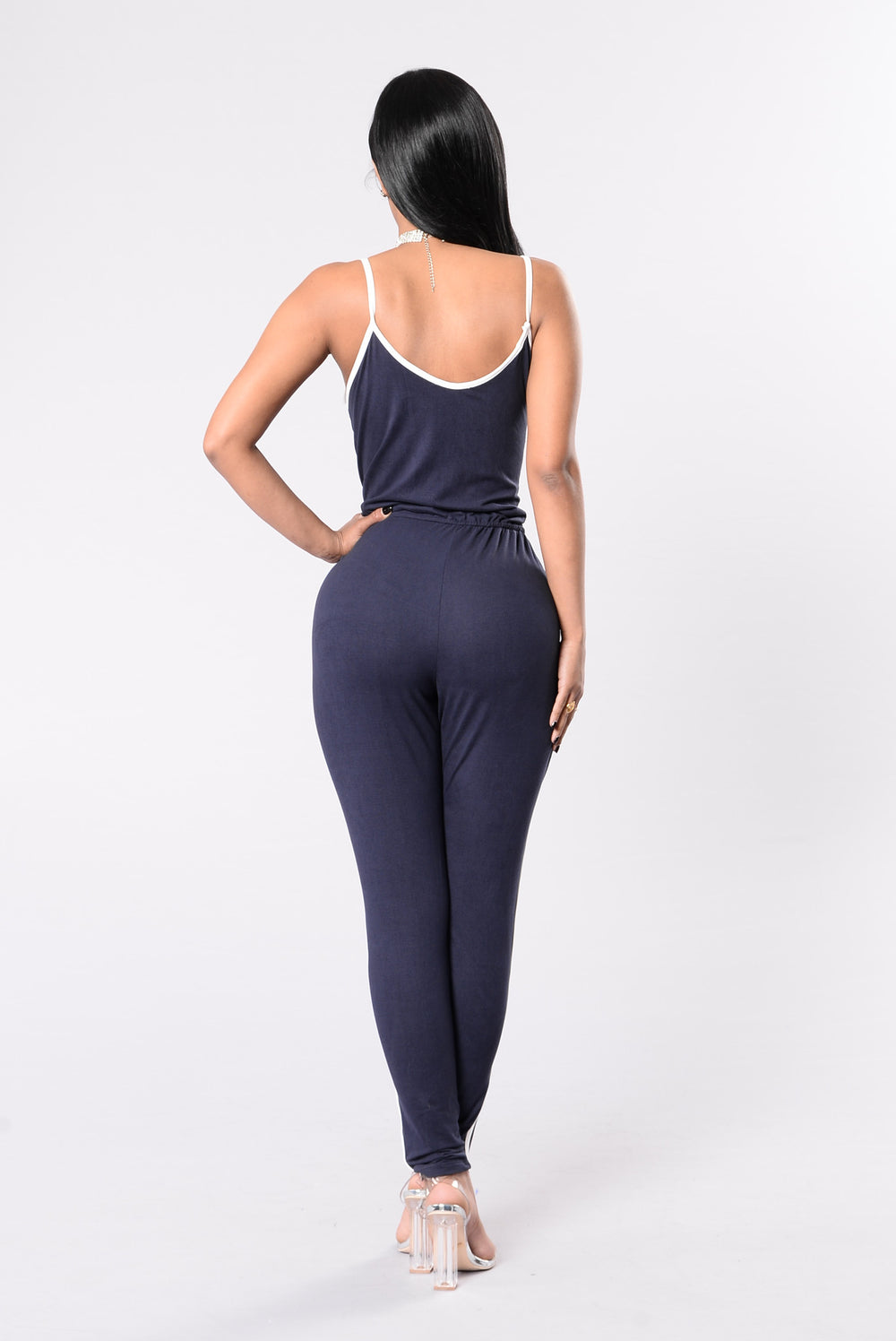 Kick Push Jumpsuit - Navy/White