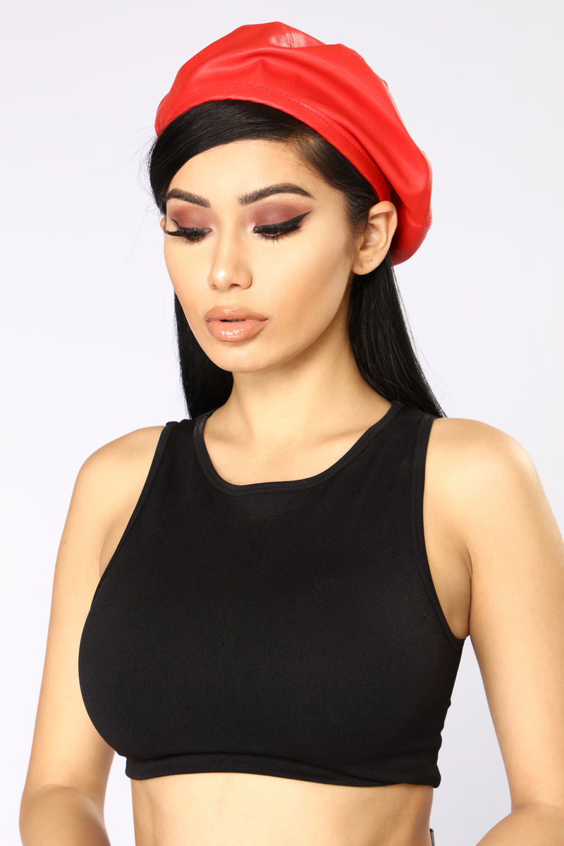 Segal Leather Beret - Red