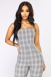Memorize Plaid Jumpsuit - Black/White