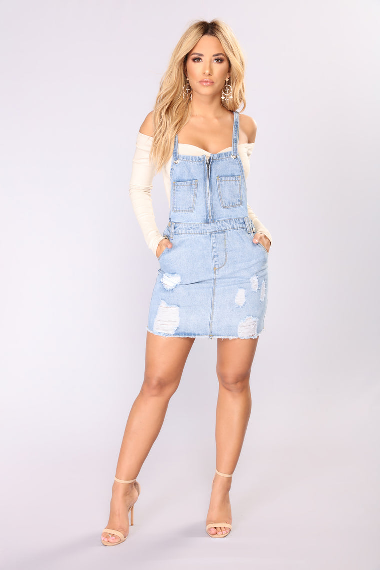 Doubtful Denim Overall Dress - Denim