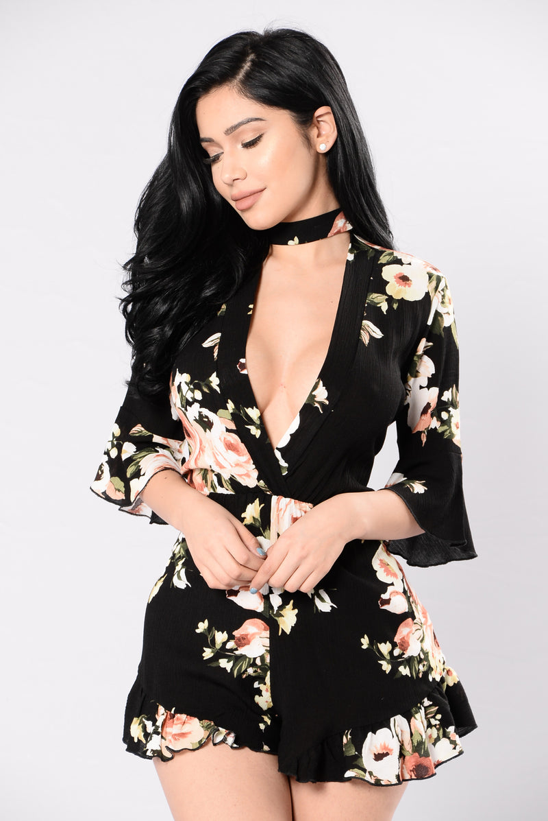 Angel Face Romper - Black