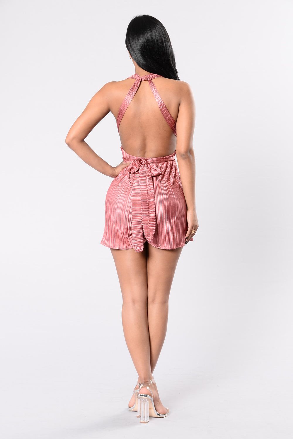 Be My Guy Romper - Dark Rose