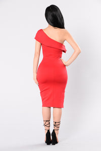 Keep You In Check Dress - Red