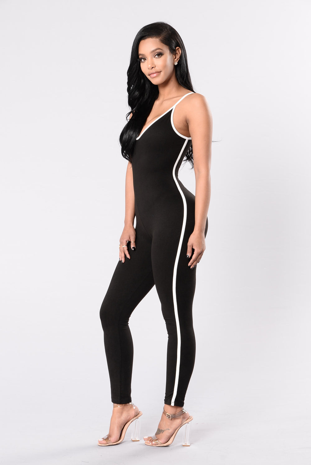 Moving On Up Jumpsuit - Black/White