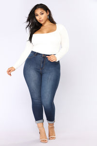 Anything But Square Long Sleeve Bodysuit - Ivory Angle 8