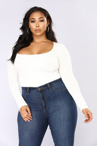 Anything But Square Long Sleeve Bodysuit - Ivory Angle 6