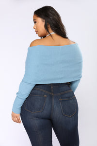 Marianna Long Sleeve Crop Top - Dusty Blue