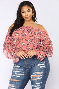 Pretty Picnic Off Shoulder Top - Pink Angle 1