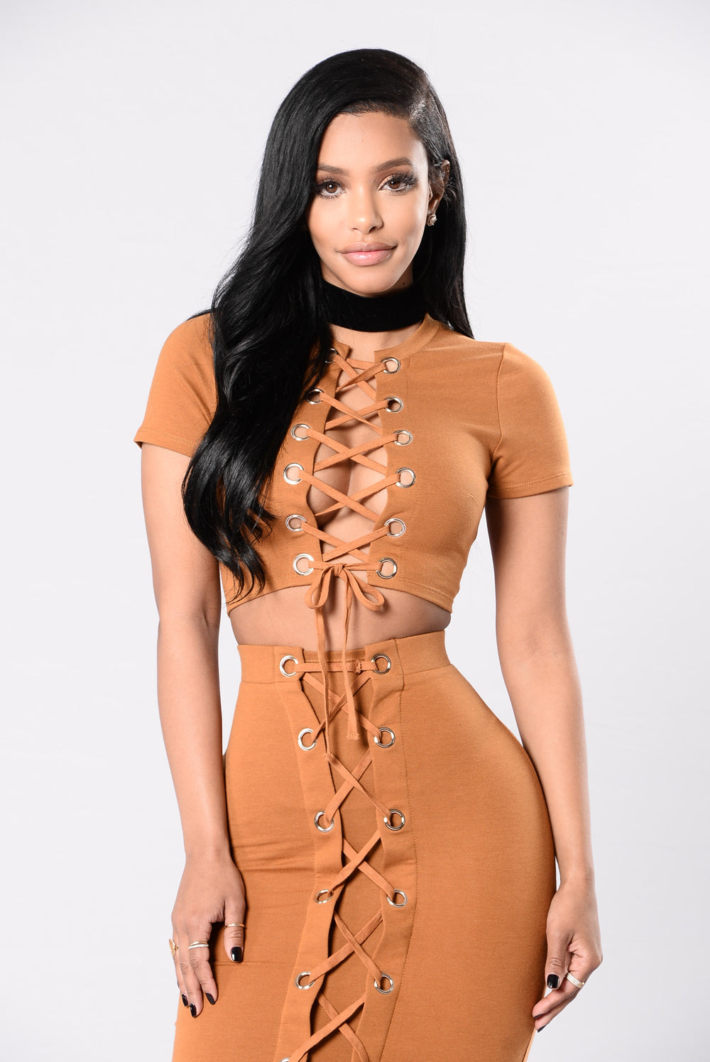 Forever Laced Up Top - Camel