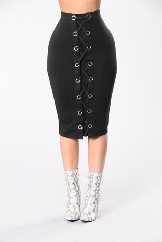 Forever Laced Up Skirt - Black