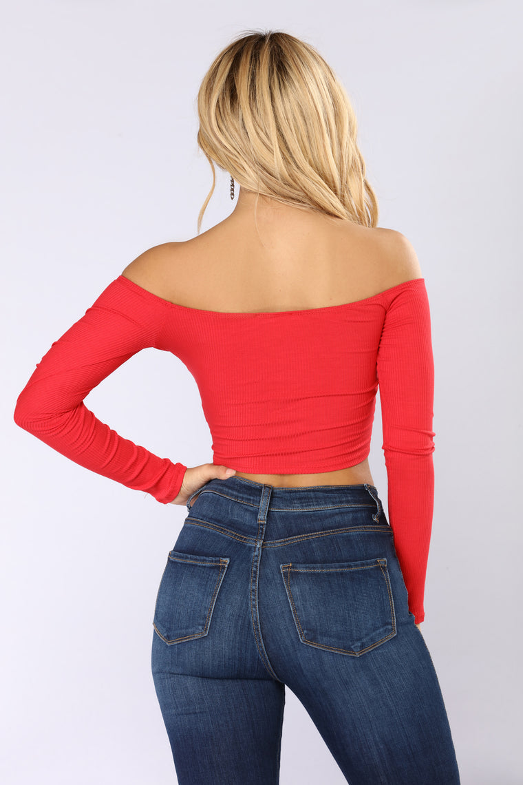 Talk That Talk Off Shoulder Top - Red