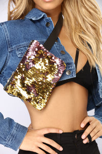 So Extra Sequin Fanny Pack - Pink/Gold