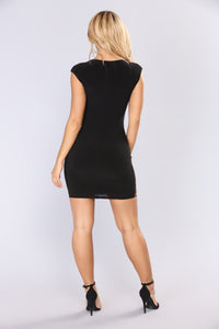 Lusting Over You Baroque Dress - Black