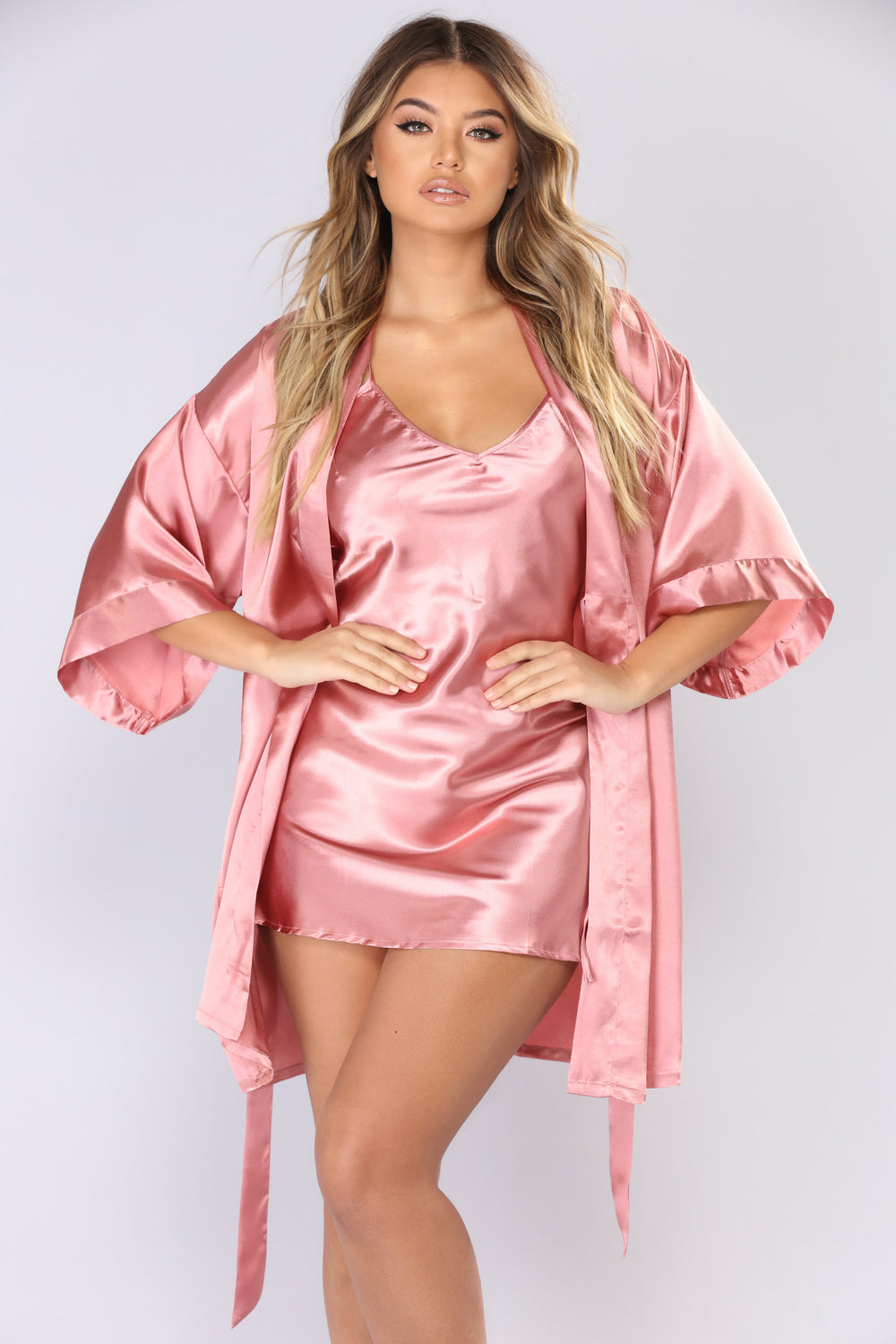 My Sexy Satin 4 Piece Set - Rose