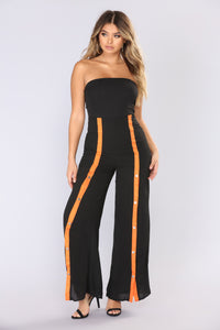 Snap Your Fingers Tube Jumpsuit - Black