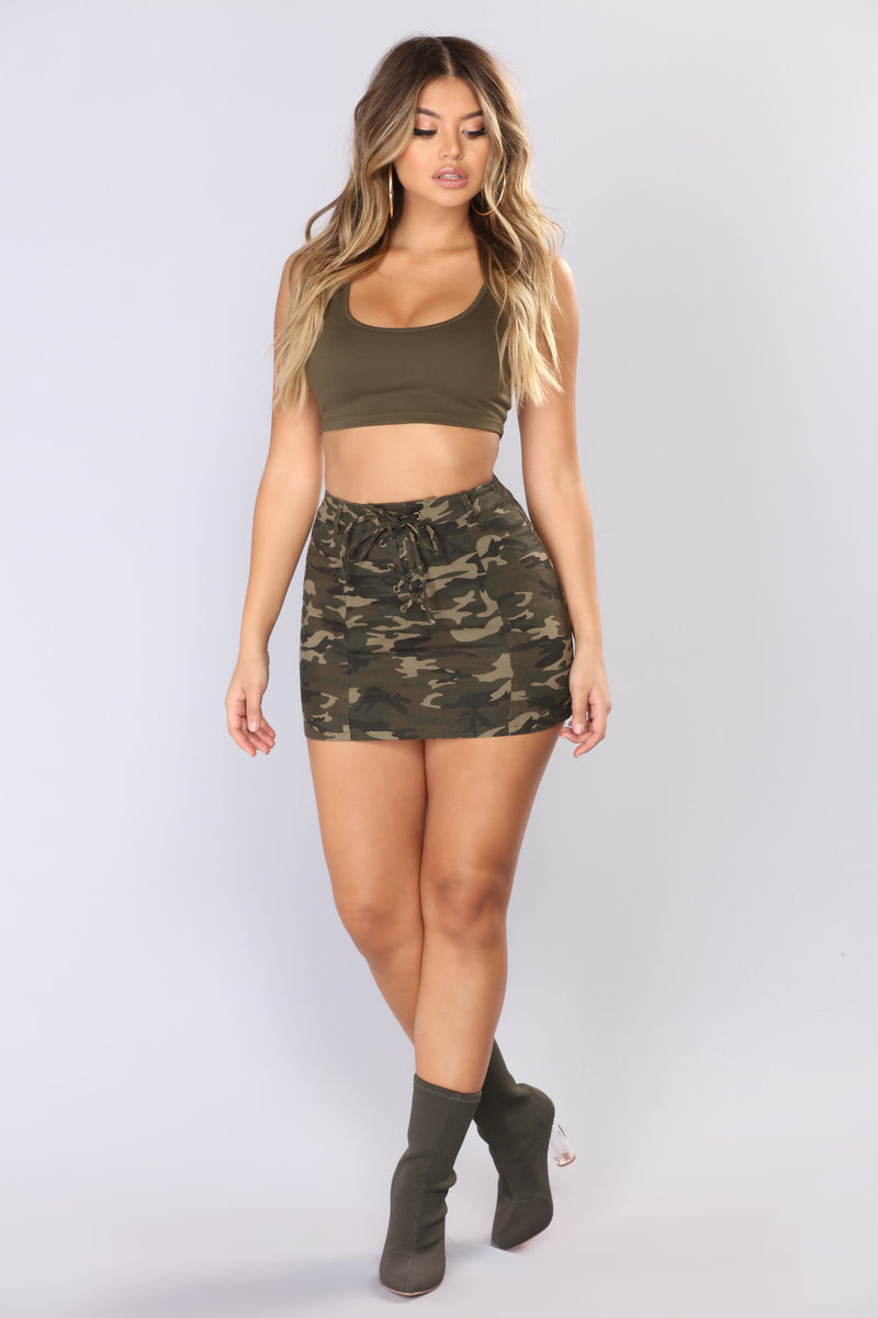 e401cc7e0e52e Bae Camp Camo Mini Skirt - Camo