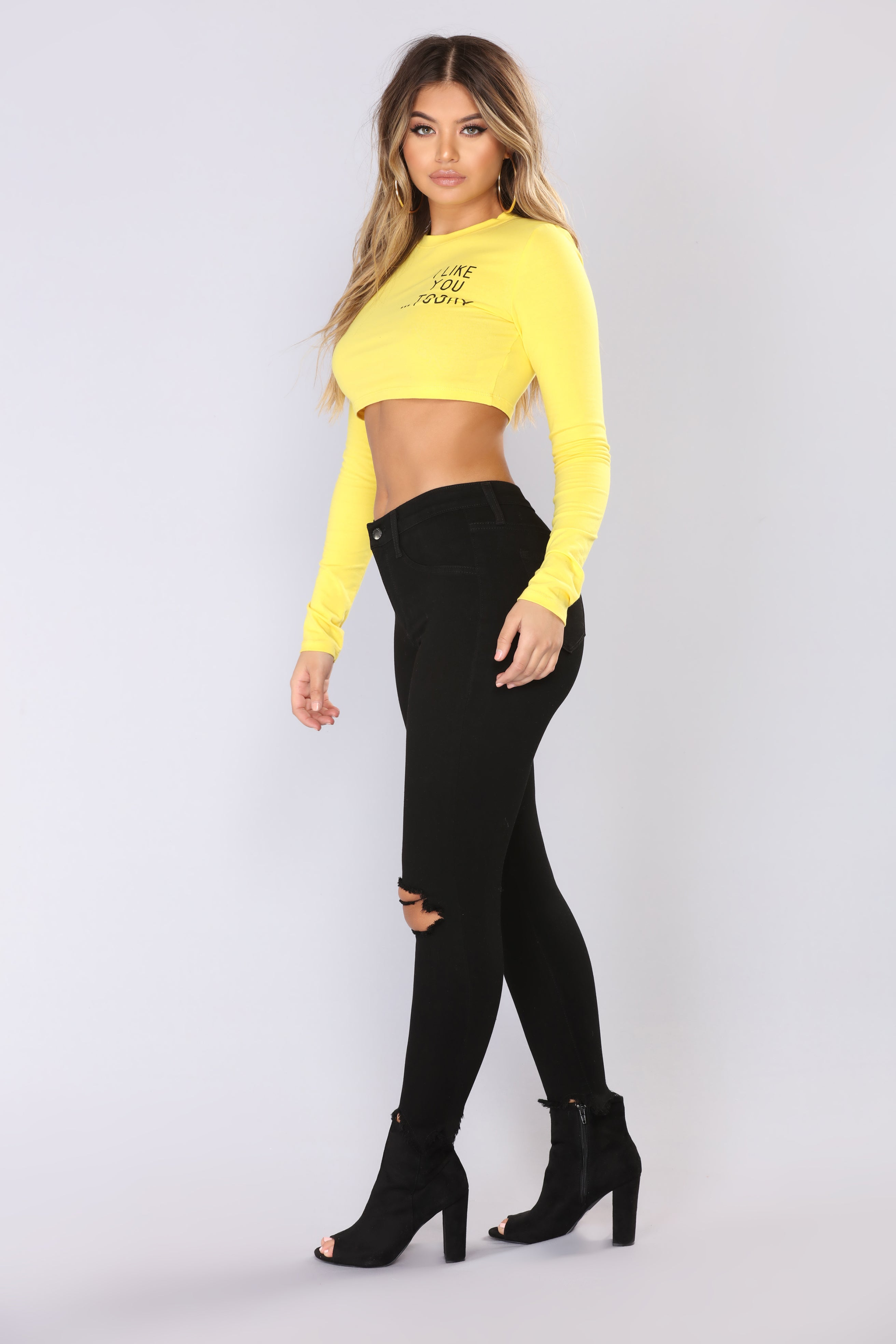 1a10c9e922418a I Like You Today Crop Top - Yellow Black
