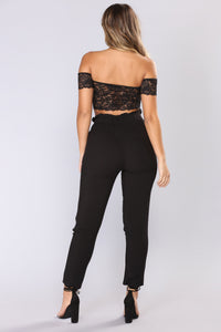 Classic Paper Bag Waist Pants - Black