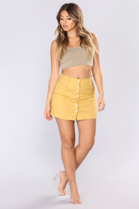 Ignoring Your Feelings Snap Button Skirt - Mustard Angle 1