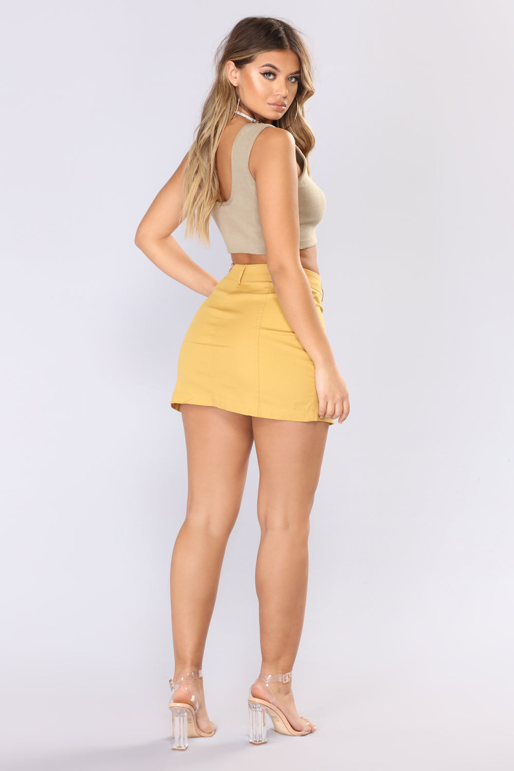Ignoring Your Feelings Snap Button  Skirt - Mustard