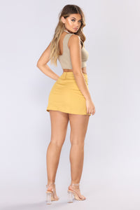 Ignoring Your Feelings Snap Button Skirt - Mustard Angle 6