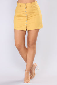 Ignoring Your Feelings Snap Button Skirt - Mustard Angle 2