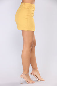 Ignoring Your Feelings Snap Button Skirt - Mustard Angle 4