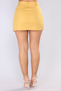 Ignoring Your Feelings Snap Button Skirt - Mustard Angle 5
