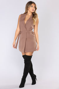 Roxanne Double Breasted Vest - Taupe