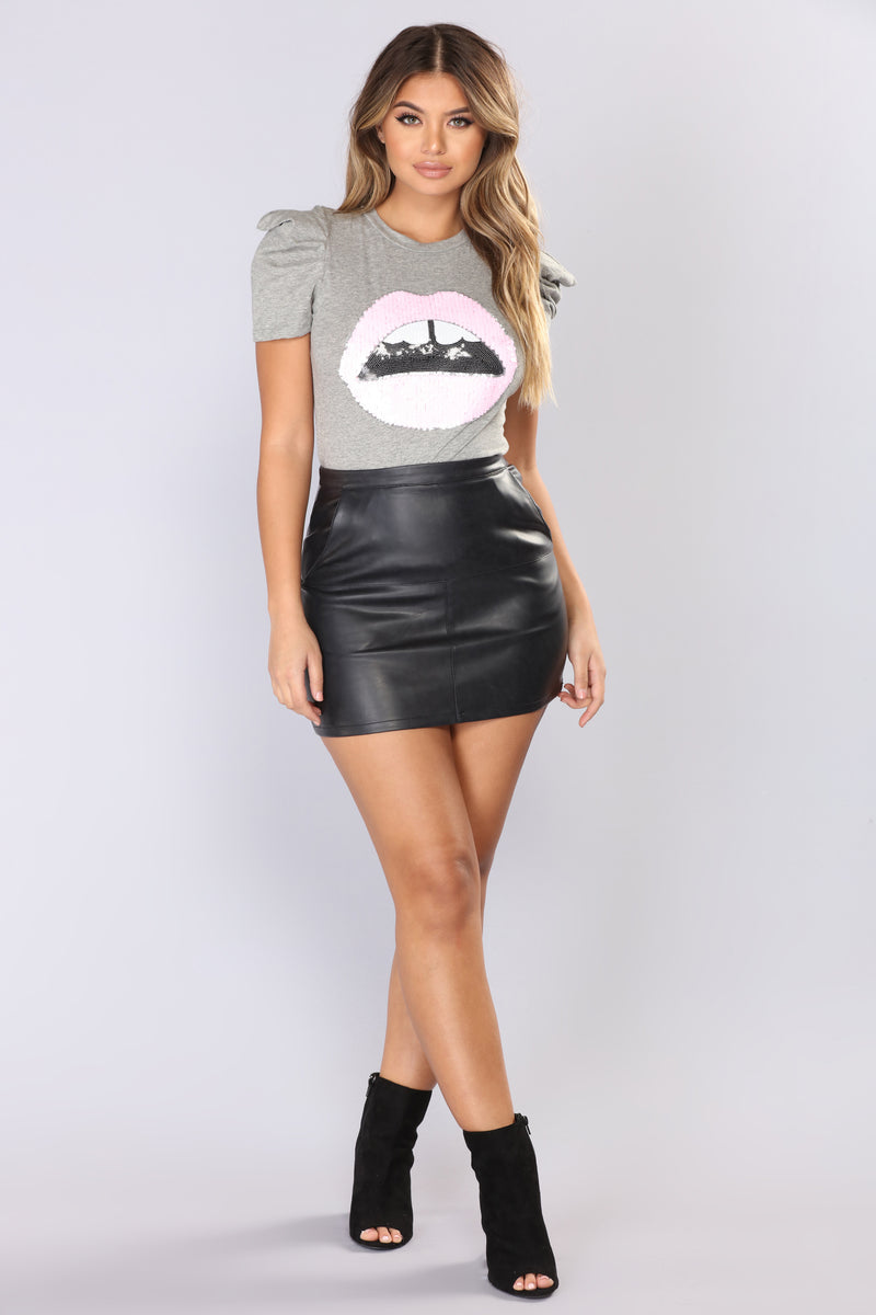 Kiss Me On The Lips Sequin Top - Grey