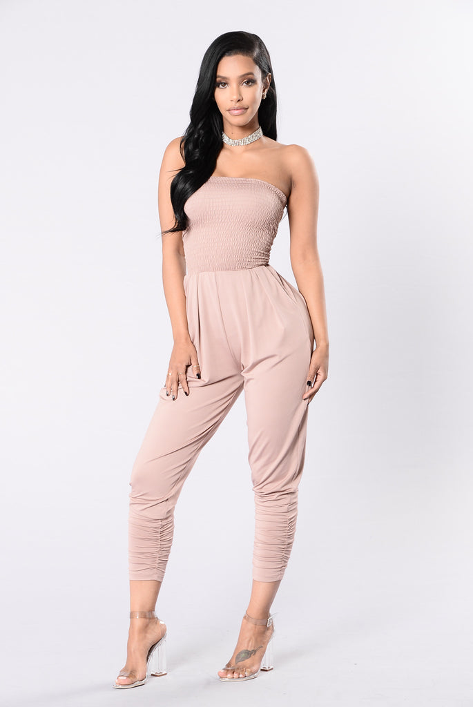 Sip On The Wine Jumpsuit - Pink Mocha