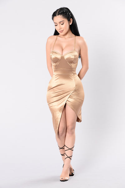 Faded On Your Love Dress - Gold