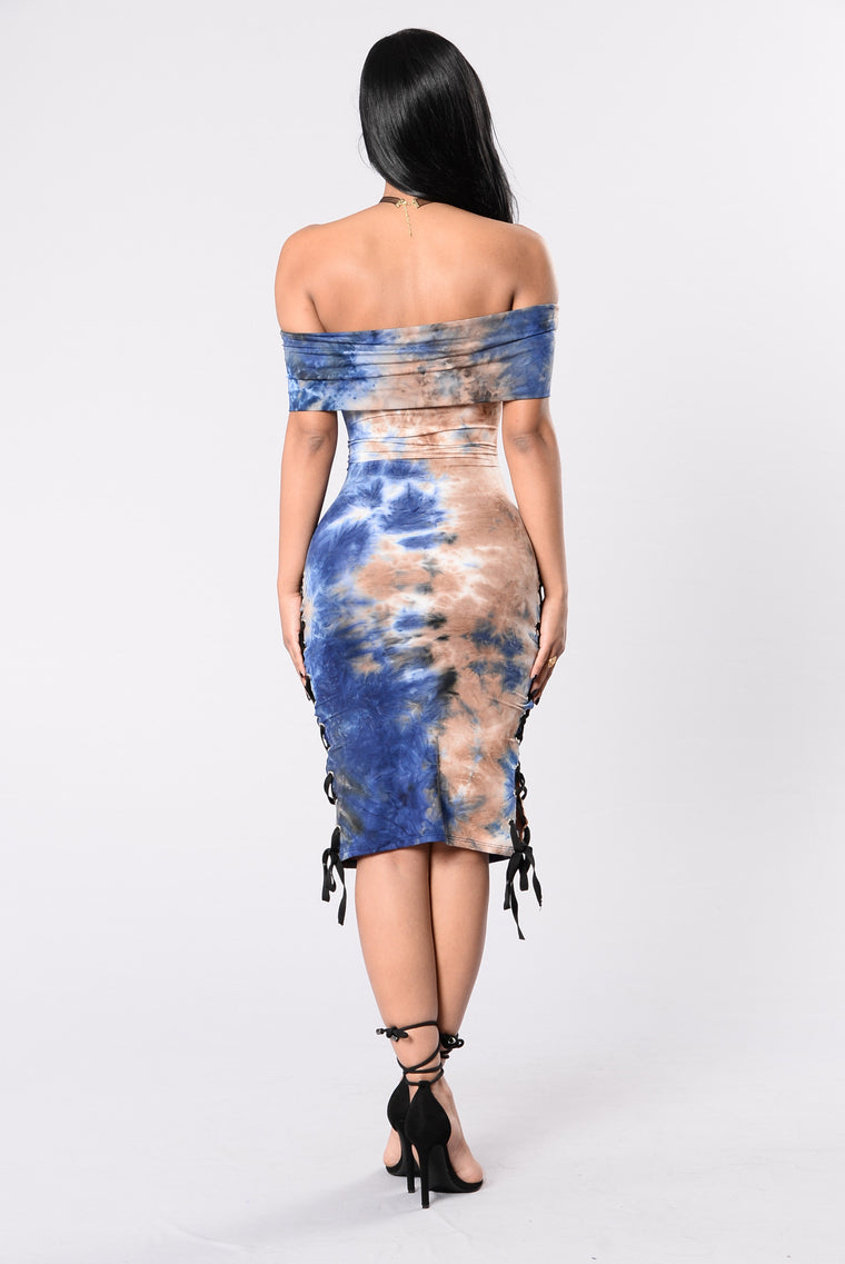 Hands In The Air Dress - Blue/Brown