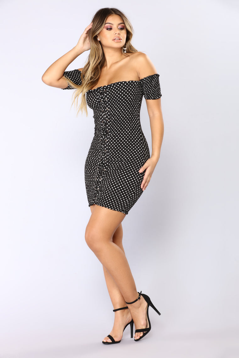 Nights With You Mini Dress - Black/White