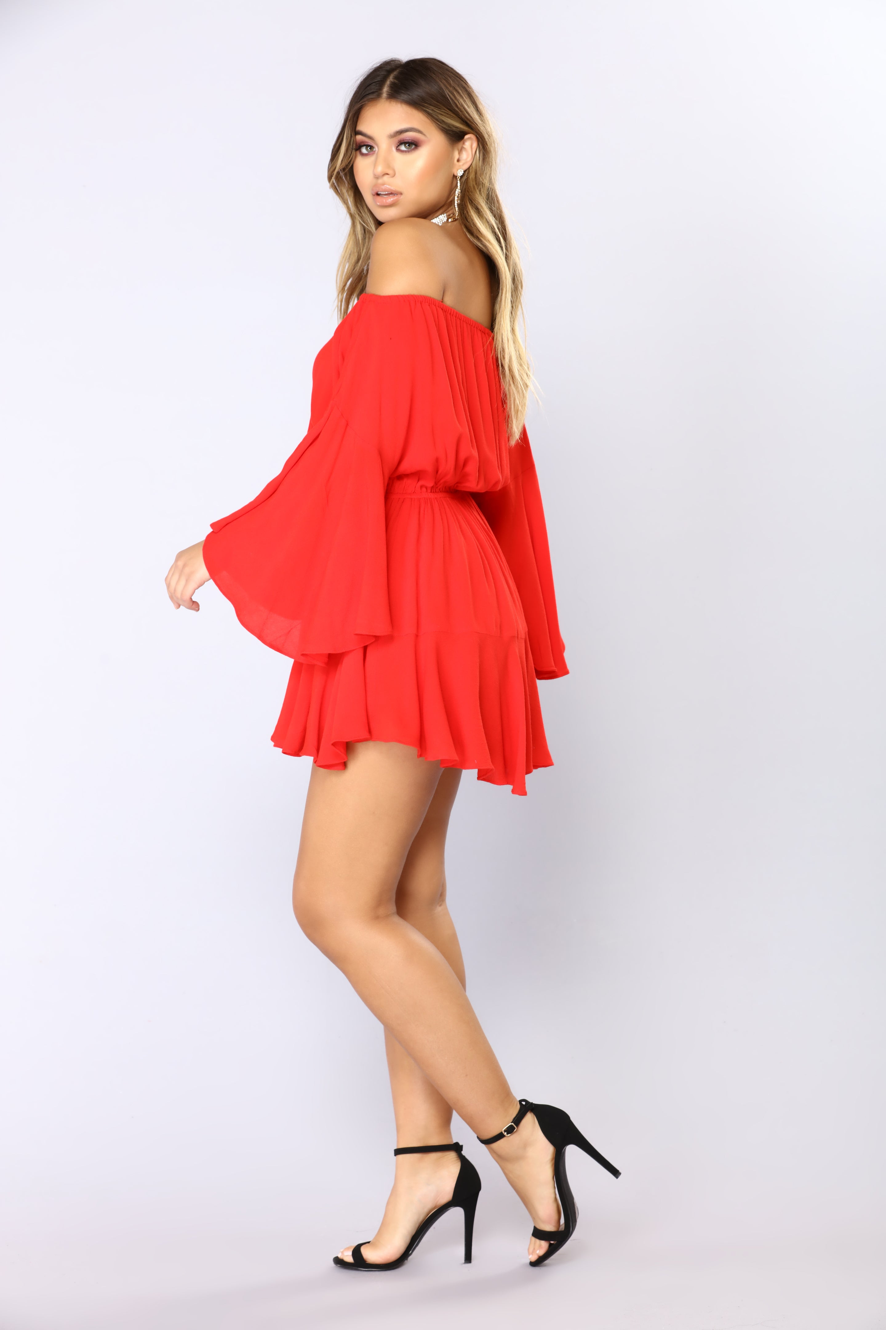 34ec525b7f48 Camellia Off Shoulder Romper - Red