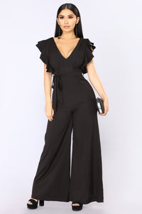 City Of Angels Ruffle Jumpsuit - Black