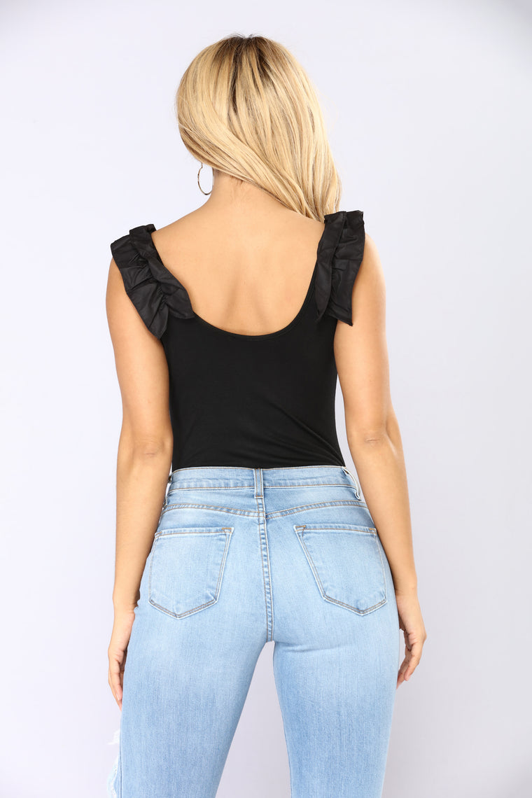 All About The Ruffles Bodysuit - Black