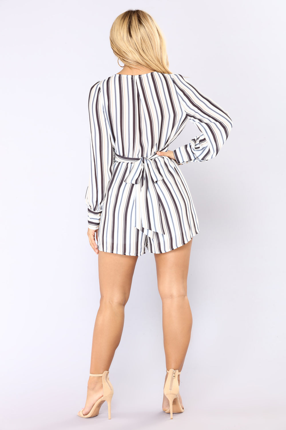 How The World Works Stripe Romper - Ivory