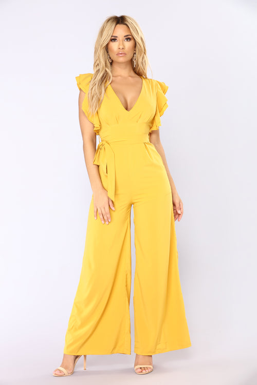 City Of Angels Ruffle Jumpsuit - Mustard
