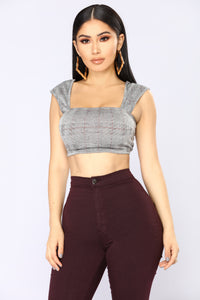 Run This Town Crop Top - Grey Combo