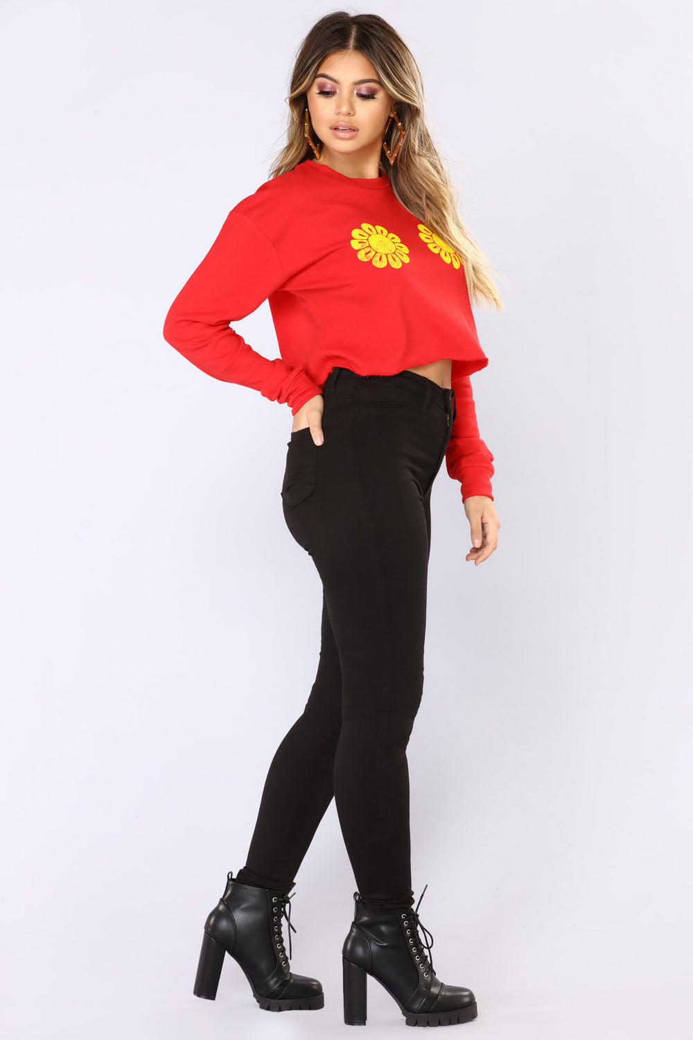 Hippie Hill Long Sleeve Top - Red