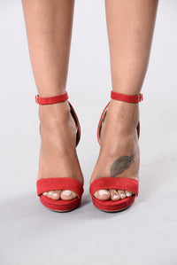 Shoe Golds Heel - Red
