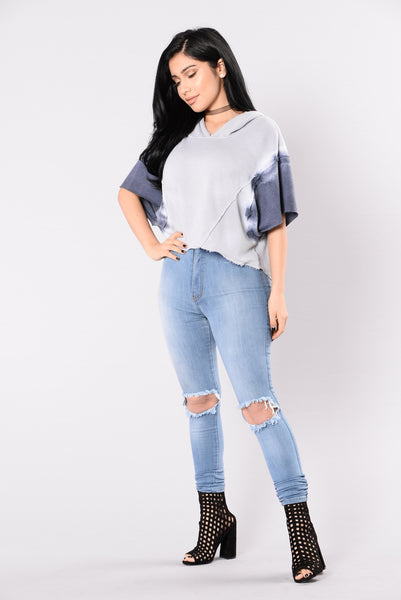 Beach Night Hoodie Top - Grey