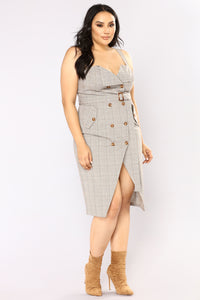 Out Of The Trenches Plaid Dress - Light Brown Angle 12